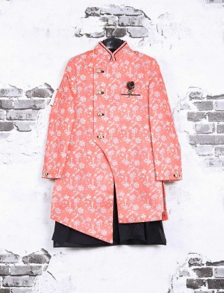 Pink wedding wear indo western for boys