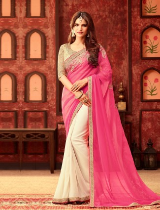 Pink white plain georgette half and half saree