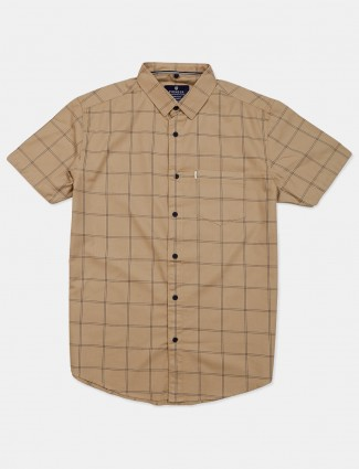 Pioneer beige checks mens shirt