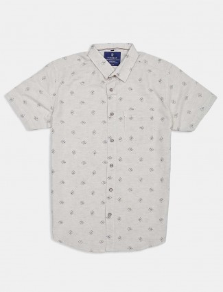 Pioneer beige printed cotton shirt