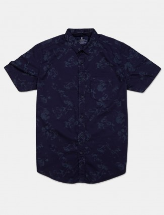 Pioneer casual wear navy printed shirt