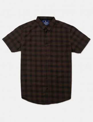 Pioneer checks brown casual shirt