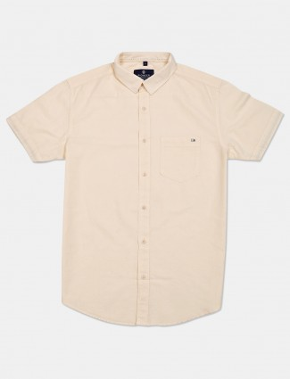 Pioneer cream casual wear solid shirt