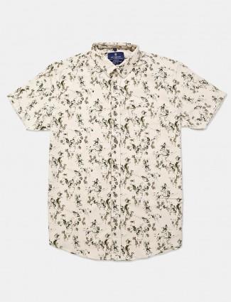 Pioneer cream flower printed shirt