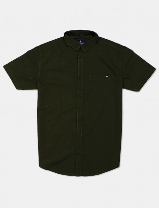 Pioneer dark green solid slim fit shirt