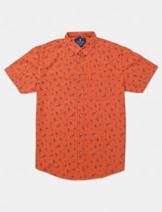 Pioneer half sleeve orange printed shirt