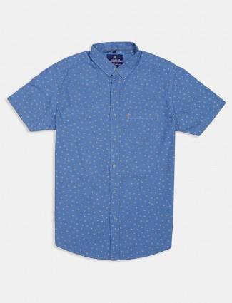 Pioneer printed blue cotton slim fit shirt