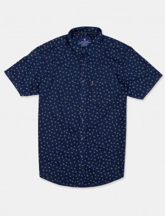 Pioneer printed navy cotton shirt