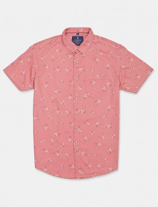 Pioneer printed peach half sleeves shirt