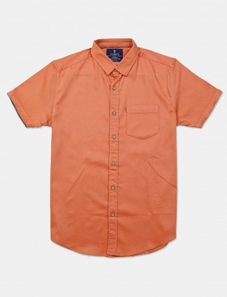 Pioneer rust orange patch pocket solid shirt