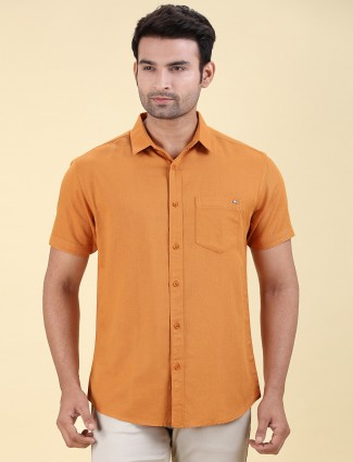 Pioneer rust orange solid half sleeves shirt