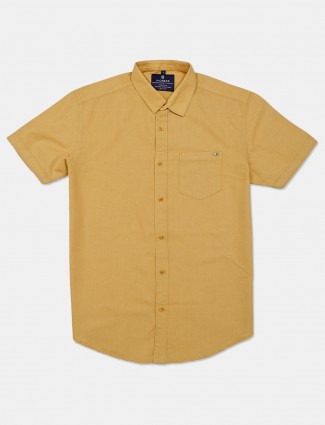 Pioneer slim collar mustard yellow solid shirt