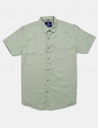 Pioneer slim collar solid pista green shirt