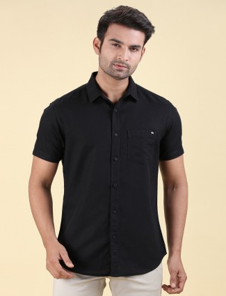 Pioneer solid black cotton slim fit shirt
