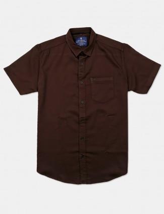 Pioneer solid coffee brown shirt