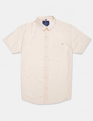 Pioneer solid cream patch pocket shirt