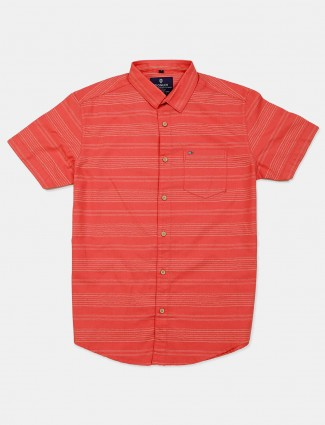 Pioneer stripe peach cotton shirt