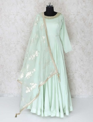 Pista green anarkali salwar suit for festive wear