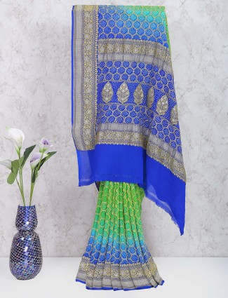 Pista green and blue shaded gharchola georgette saree