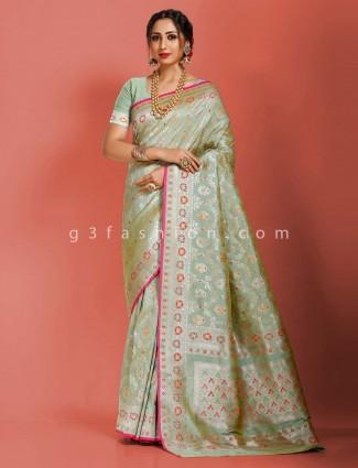 Pista green art banarasi silk designer meenakari weaving saree