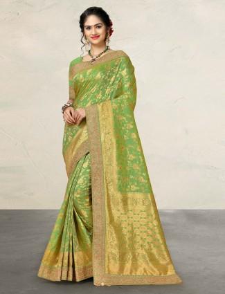 Pista green banarasi silk sari
