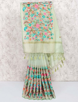 Pista green classic saree in cotton