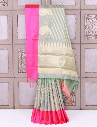 Pista green color semi silk festive saree