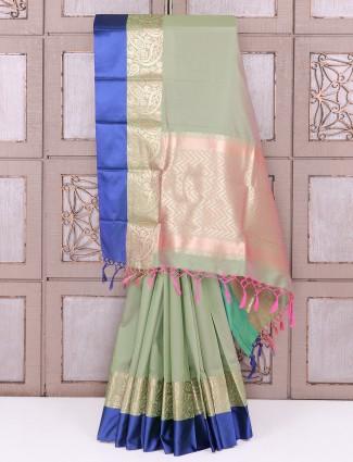 Pista green color semi silk festive wear saree