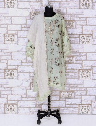 Pista green color silk palazzo suit