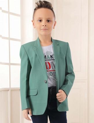 Pista green color terry rayon farbic blazer
