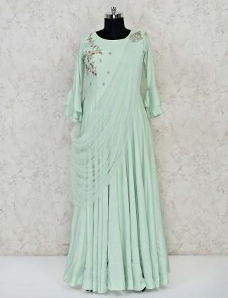 Pista green cotton anarkali salwar kameez