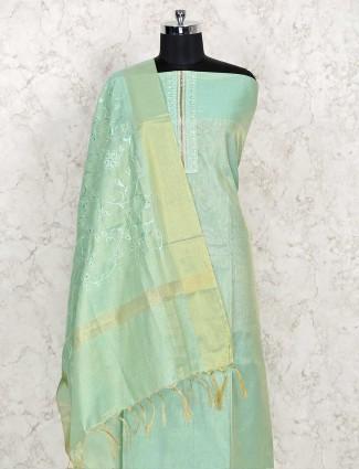 Pista green cotton dress material