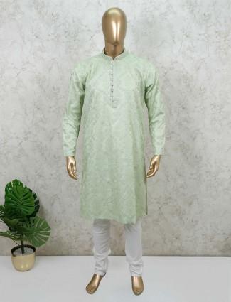 Pista green cotton festive wear kurta suit