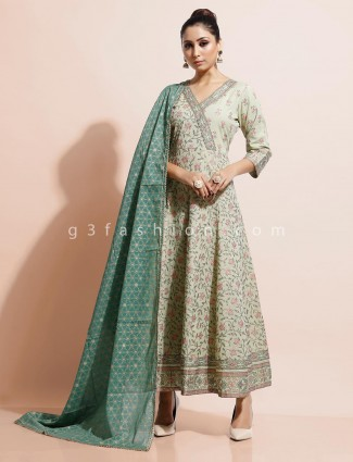 Pista green cotton festive wear long kurti