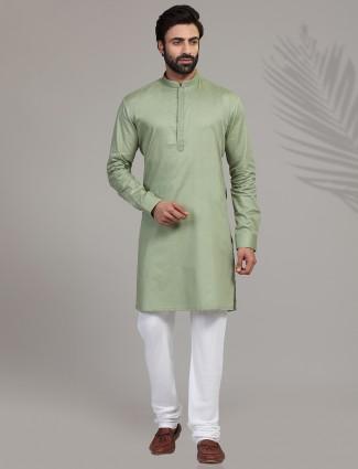 Pista green cotton full sleeeves kurta suit