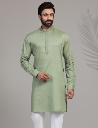 Pista green cotton only kurta