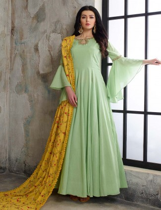 Pista green cotton silk pakistani anarkali salwar suit
