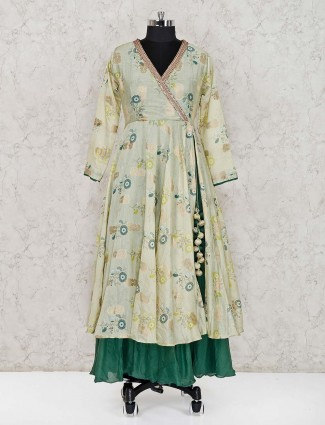 Pista green cotton silk festive wear salwar suit