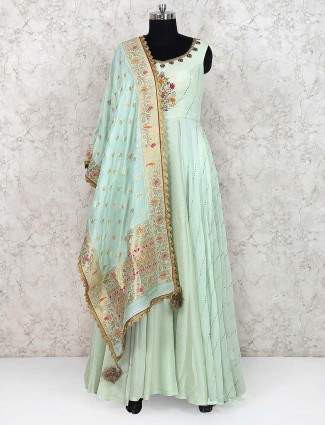 Pista green cotton silk floor length anarkali salwar suit