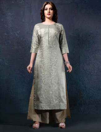 Pista green cotton silk kurti for festival