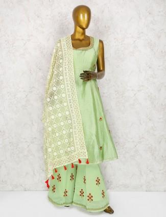 Pista green cotton silk punjabi palazzo suit