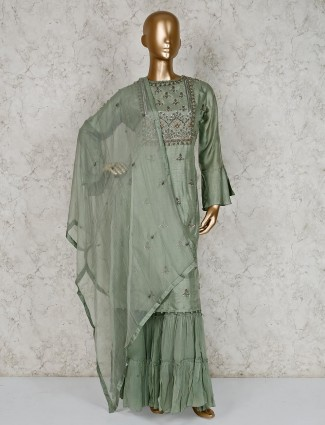 Pista green cotton silk quarter sleeves sharara suit