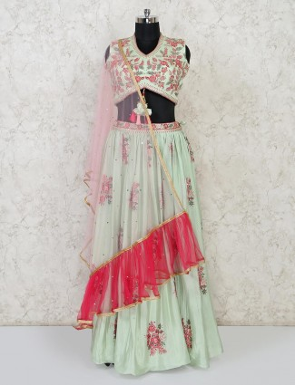Pista green cotton silk wedding lehenga choli