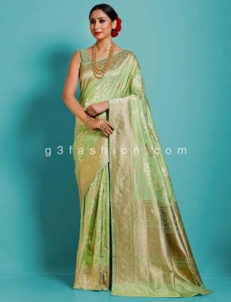 Pista green designer banarasi silk saree