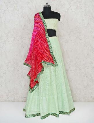 Pista green designer georgette semi stitched lehenga choli