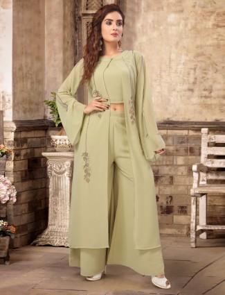 Pista green designer indo western palazzo suit in georgette