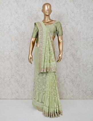 Pista green designer lucknowi georgette saree