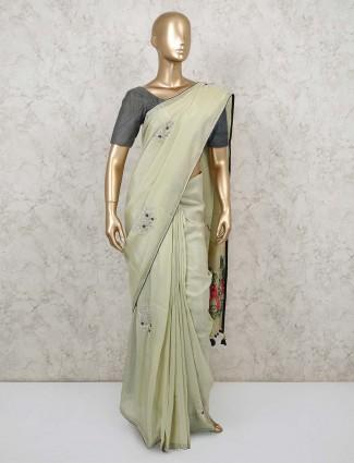 Pista green designer soft organza tissue saree for wedding