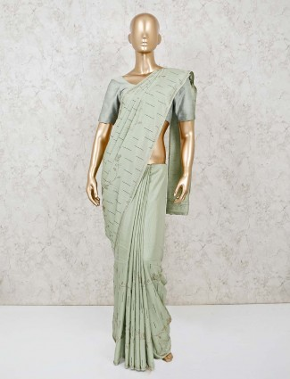 Pista green dola silk saree for festive