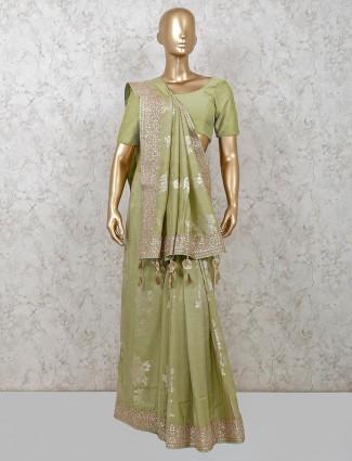 Pista green dola silk saree for weddings